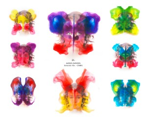 Coloured butterfly rorschach  images printed over faces
