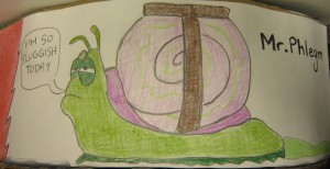 Illustration of a tired snail