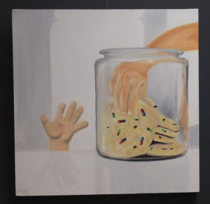 Painting of cookie Jar with hands