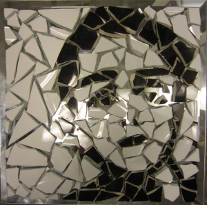 Ceramic on glass that forms a face