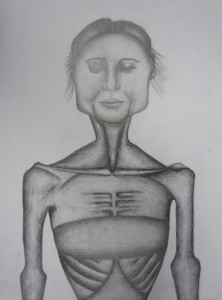 Pencil sketch of a very skinny woman.