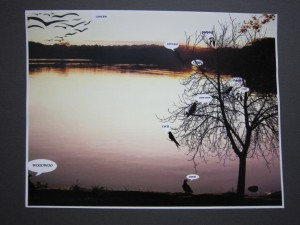 Digital image of birds by a lake with speech bubbles.