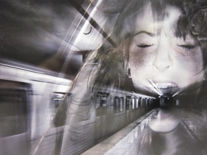 A digital image of a subway train and platform with an overlay of a woman's head screaming.