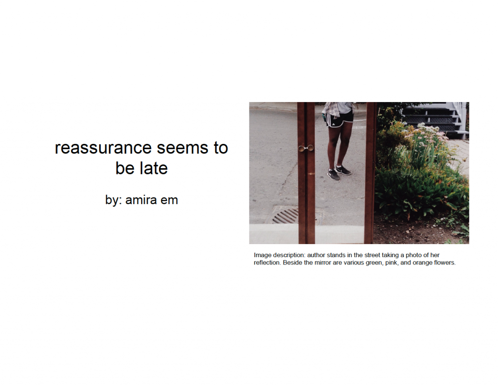 reassurance seems to be late - Amira Mahamud